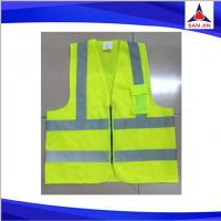 Zipper Safety Vest Yellow Reflective Tape Polyester Mesh